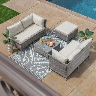 Shop for Grey Cushioned 4-piece Patio Conversation Set. Get free delivery at Overstock.com - Your Online Garden & Patio Shop! Get 5% in rewards with Club O! - 19061120