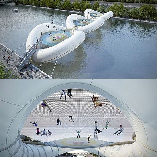 Most pinned travel destinations. The trampoline bridge in Paris is so amazing!