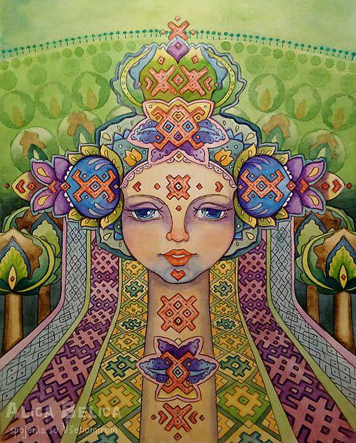 Alica.Belica / Cesta uvedomenia - visionary folk art (akvarel, vodové farby, portrét, dievča, kvety, ľudový, symbol, psychedelický)