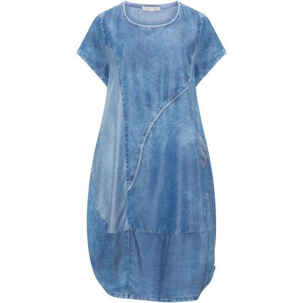 zedd plus Blue Plus Size Denim-look balloon dress ($98) ❤ liked on Polyvore featuring plus size women's fashion, plus size clothing, plus size dresses, blue, plus size, blue denim dress, plus size blue dress, plus size summer dresses, short sleeve midi dress and plus size denim dress