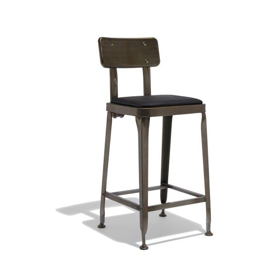 145 Gun Metal Octane Counter Stool With Leather Seat