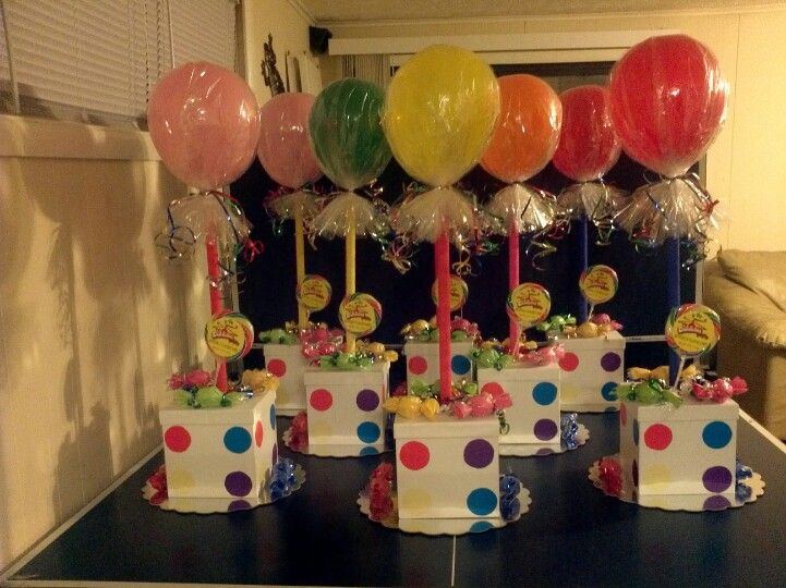 Table center pieces for candy theme party.