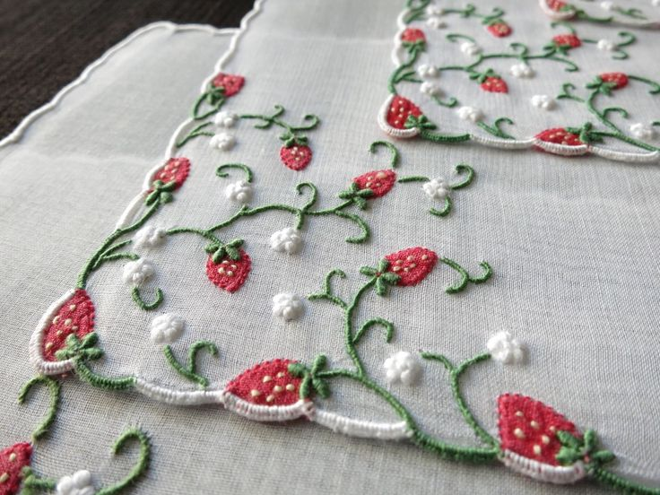 STRAWBERRY Vintage MARGHAB Madeira Hand Embroidery 8 Cocktail Napkins ORGANDY | eBay