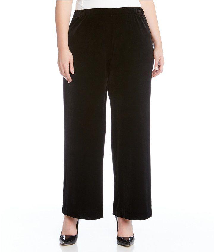 Karen Kane Plus Wide Leg Velvet Pant