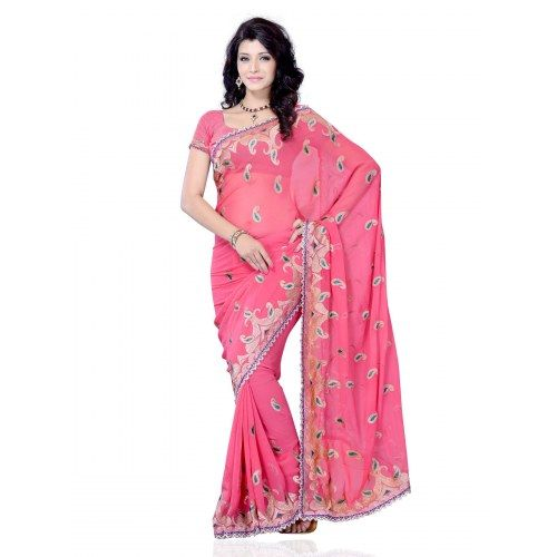 Pink Color Chiffon Fabric In Crafted Mango Shape Butta All Over With Jari Work Saree For Party Wear