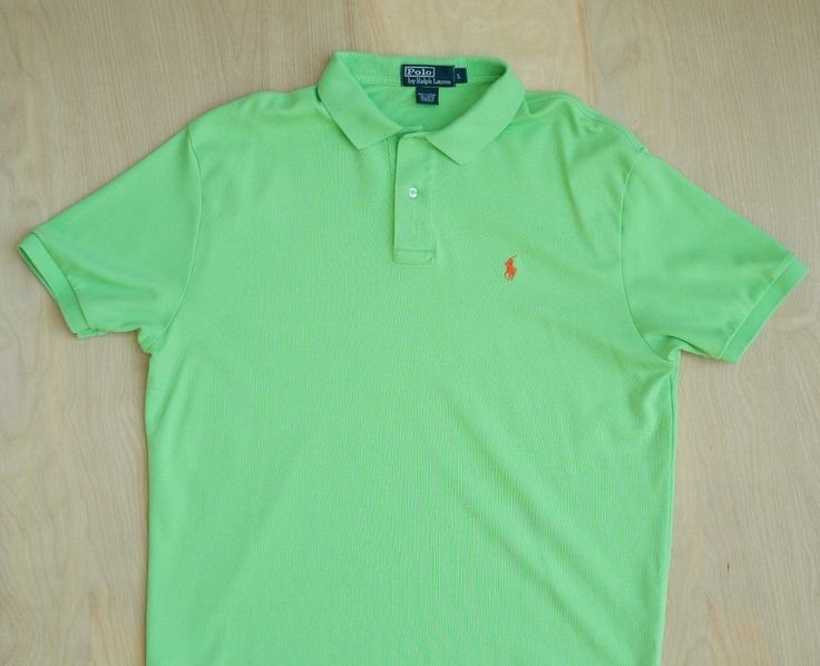 POLO Ralph Lauren Neon Green Short Sleeve Soft 100% Cotton Polo Shirt Size L #PoloRalphLauren #PoloRugby