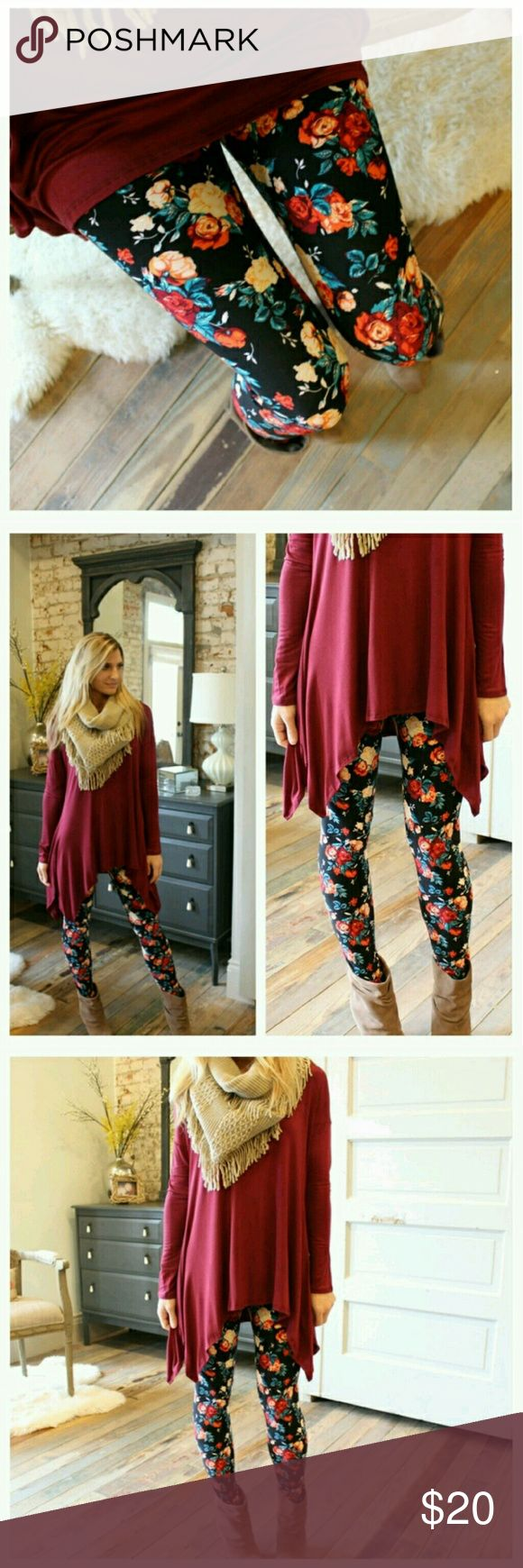 ❤NEW IN❤ Soft Rose floral Print Leggings! Amazingly SOFT rose/floral print leggings! You won't want to take them off! Very trendy for Fall! Looks adorable with the burgundy asymmetrical tunic as pictured, (see listing).  Same style as the my other floral leggings that sold out. Also available in solid black (see listing). See the love notes I have received for Infinity Raine leggings (4th picture)!  Fits up to size 12 comfortably. 92% polyester, 8% spandex. Made in the USA. Price is firm…