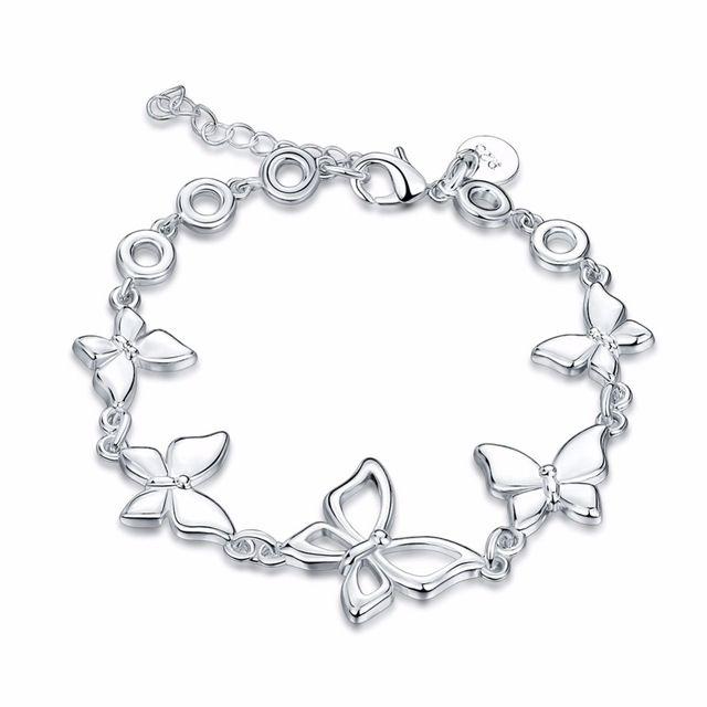 Посеребренные браслеты новые объявления высокомарочным ювелирные изделия Рождественские подарки пять бабочка браслет
