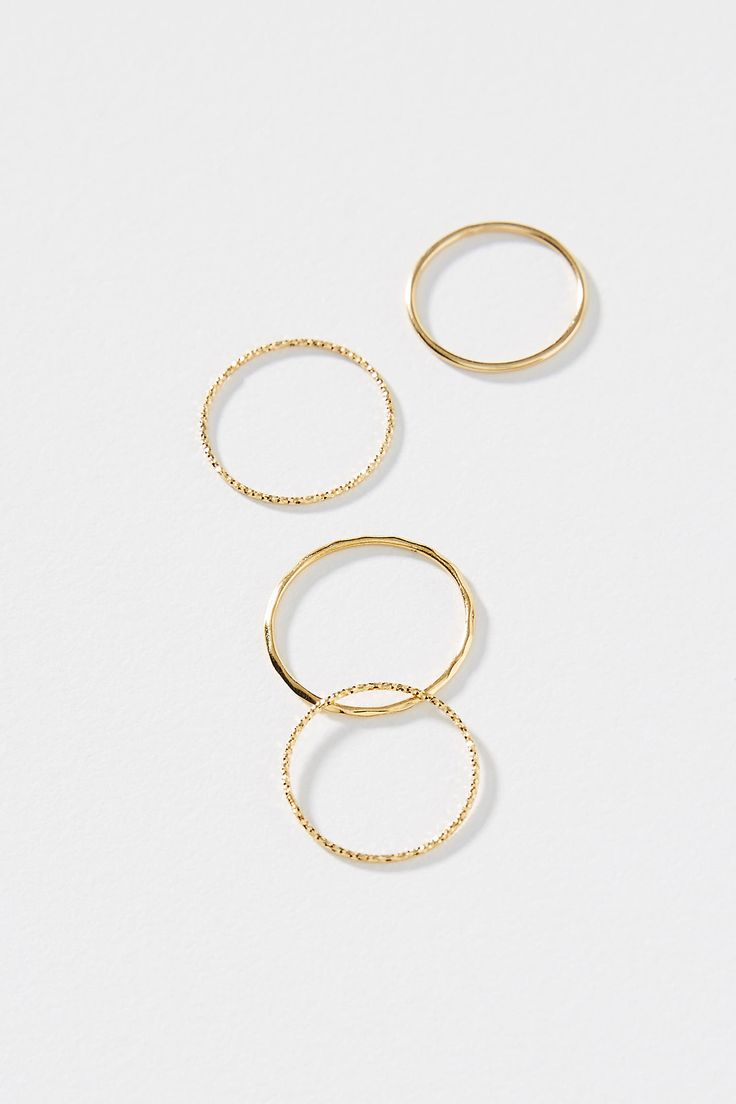 Valerie Stacking Ring Set by Anthropologie in Gold Size: 6, Jewelry