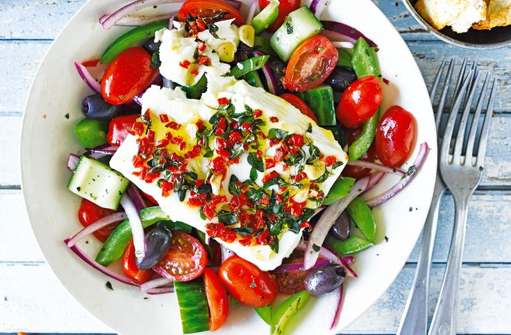 Baked feta with Greek salad and pitta chips | Tesco Real Food