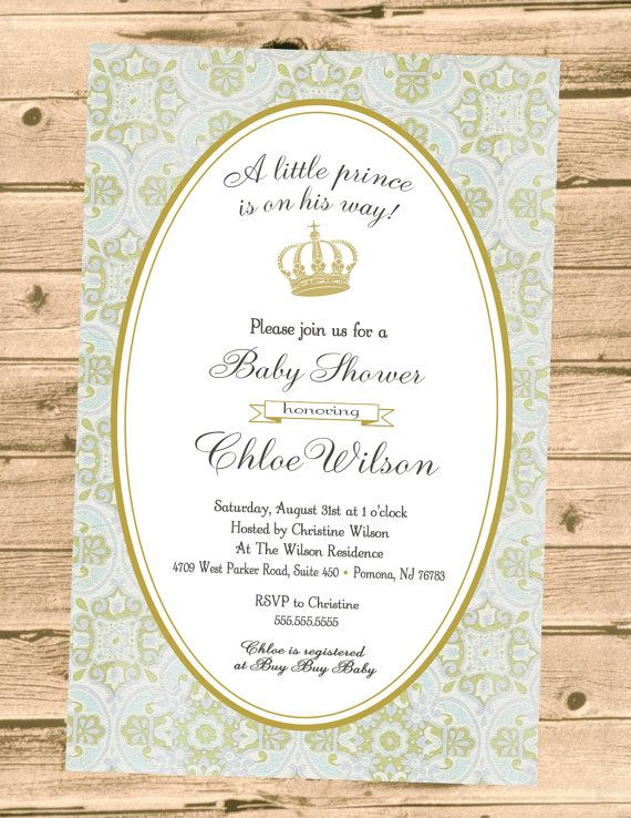 royal prince baby shower invitation printable digital file