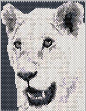 Lion Black and White 22614 WO Peyote Bead Pattern