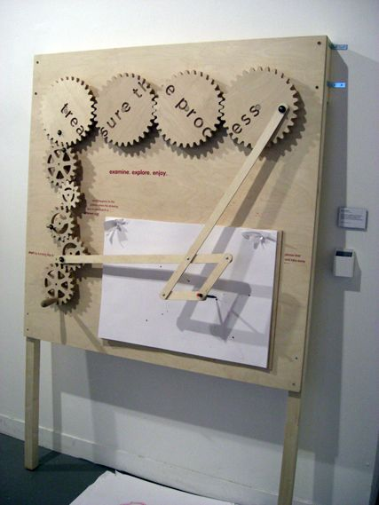 Andrew Barker's Treasure the Process, a drawing machine that uses different-sized wooden cogs to create different patterns. BA Graphic Design, Kingston