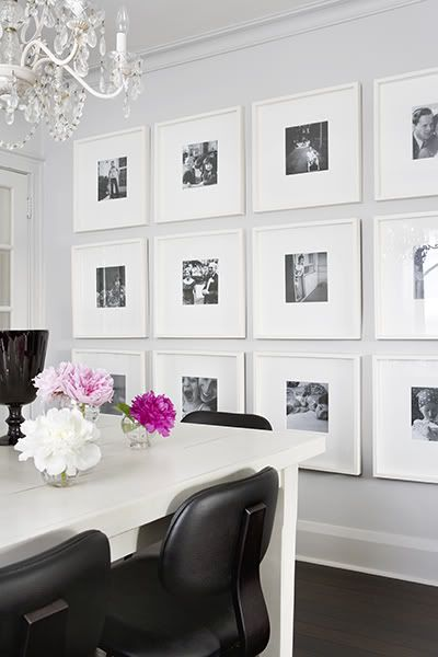 Love this wall of photos. I love the idea of scanning old family photos, making them b and hanging them up among newer photos.Dining Rooms, Ideas, Black And White, Living Room, Gallery Walls, Black White, Photos Wall, White Frames, Pictures Wall