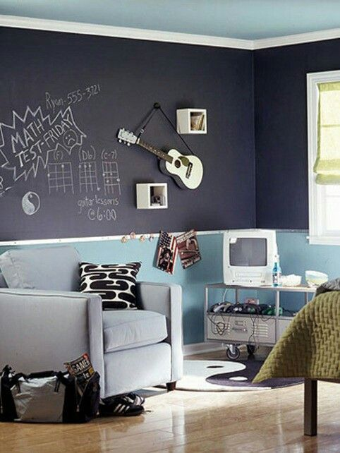 Blackboard Paint  Blackboard paint is one of the coolest paints around and will give your son a way to keep track of all those important due dates or even just a place to draw neat stuff.  As we can see below, Ryan has naively left his phone number written down, so you can all text him to find out more about blackboard paint.