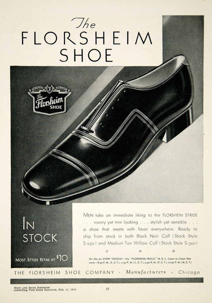 1930 Ad Florsheim Shoe Company Chicago Illinois Men Fashion Stride Noir YBSR1