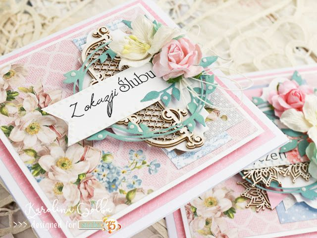 Wedding card in shades of pink made with Alice's dreams, Primo, The Peony Avenue collection.