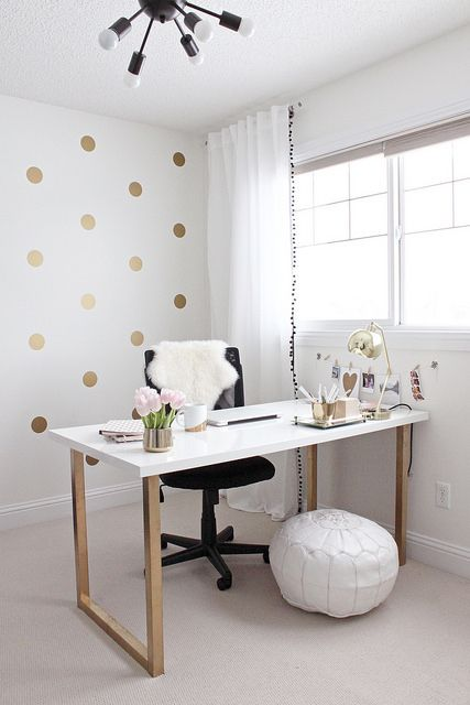 Gold and Girly Home Office by justbellablog, via Flickr (NOTE: trim on white curtains)