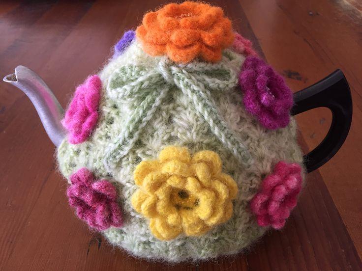 Hand spun, crocheted, microwave dyed, tea cosie. Natural Ewe Designs Australia.