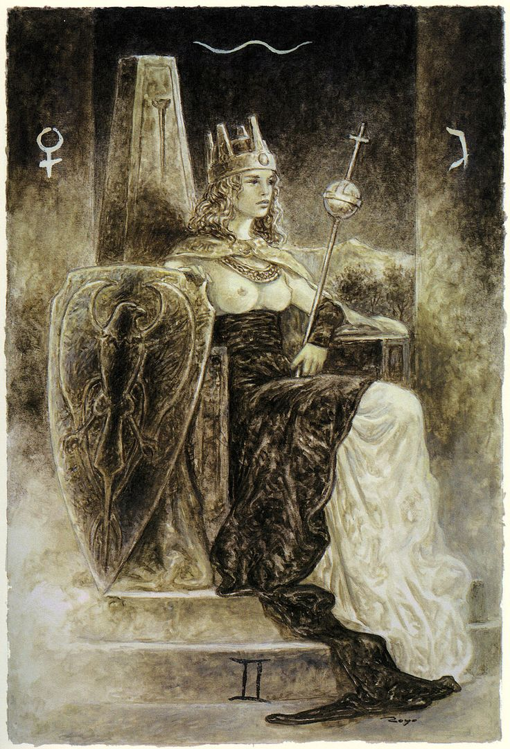 Luis Royo - The Labyrinth Tarot - Major Arcana: The Empress 3 / Venus Action, development, feminine vitality, sensual pleasure, abundance, compassion, creativity, nuturing, feeling good about life. Focusing on beauty and art, in harmony with the natural world, being extravagant, luxurious living, sensual awareness.