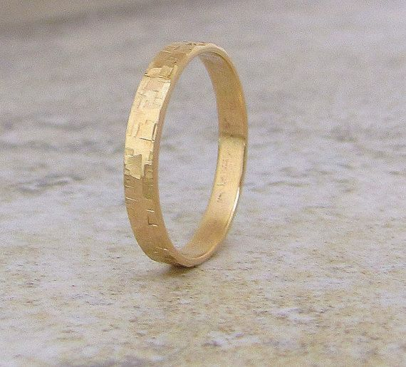 Men's Wedding Band Rustic Wedding Rings Unique by GoldSmack