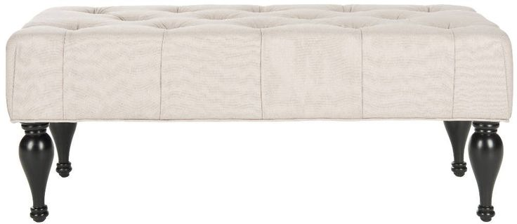 <p>An elegant taupe linen fabric wraps the handsome Rupert bench, a sculptural piece that can function as a seat or cocktail table. With boxy outline details and luxurious button tufting contrasting tulip been feet of birch wood in an espresso finish, Rupert makes a grand statement. Use this eclectic bench in rooms with traditional to transitional furnishings.</p>