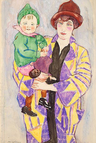 Mother with child, Greet with Rob ca 1923 - Jan (Johannes Carolus Bernardus) Sluijters   Studio 2000