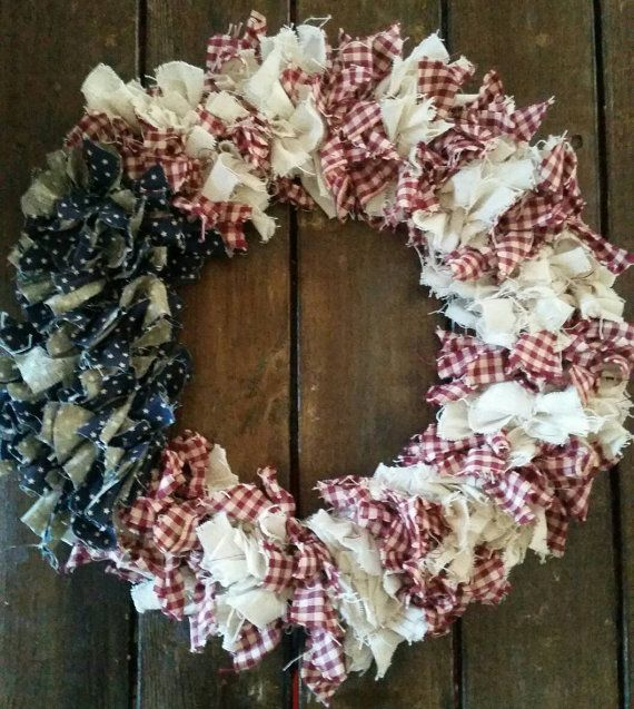 American flag wreath, 4th of July Wreath, Fabric Wreath, Americana Decor