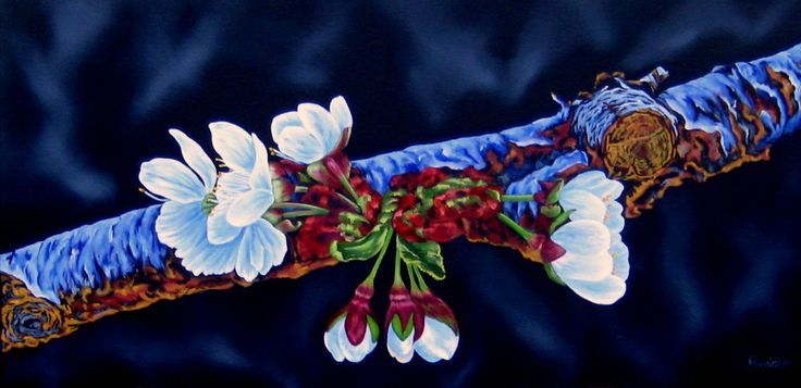 """Fleur de Cerisie"" - oil - 12"" x 24"" - framed/liner - $965."