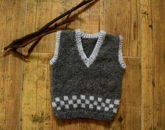 Knitting Baby Vest Knit baby vest wool baby tank knitted brown ves by KsyuKnitting