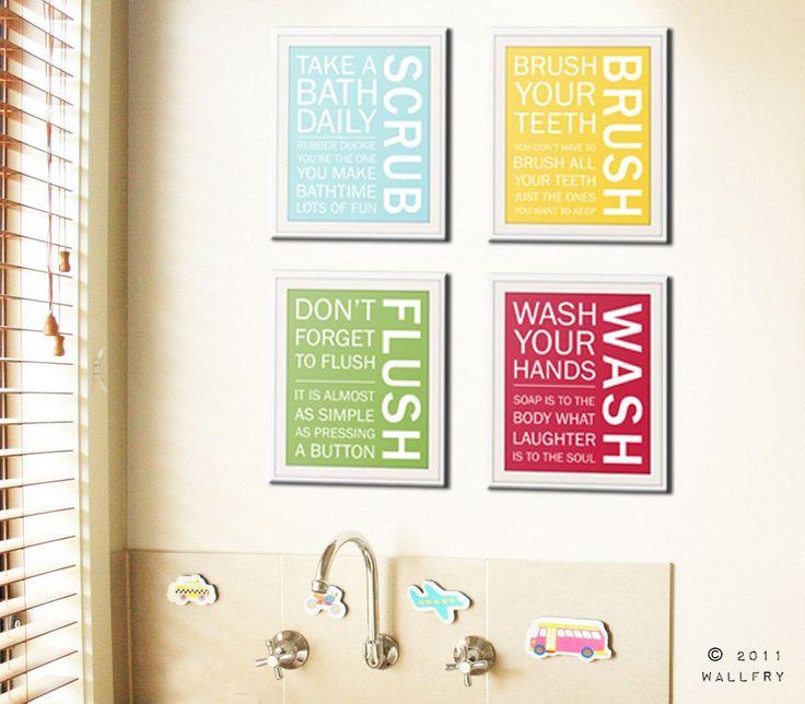 Bathroom art prints. Bathroom Rules. Kids bathroom wall quotes. Wash Brush Floss Flush. Typography. SET of ANY 4 prints by WallFry – Bathroom Decor On A Budget
