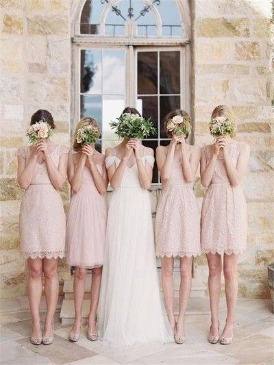 Pink lace bridesmaid dresses, Short bridesmaid dresses, Cute bridesmaid dresses, cute bridesmaid dresses, Custom bridesmaid dresses, 17099