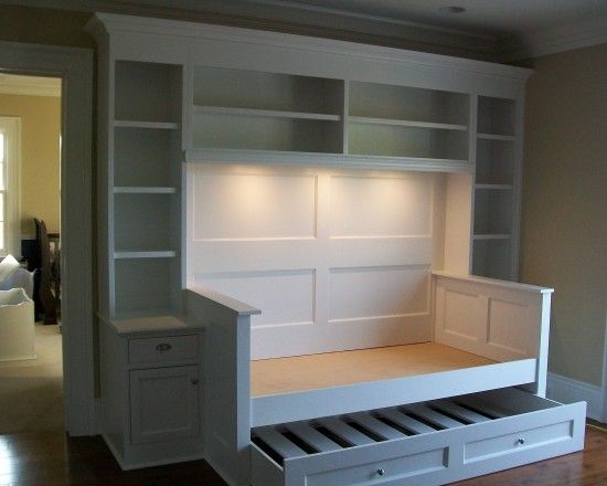 built-in bed and shelving pull out trundle bed or more storage-guest-room. This would be FANTASTIC for the boys room even!
