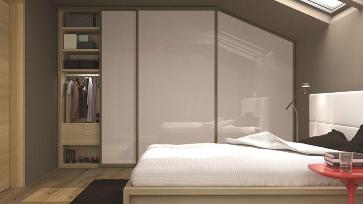 vstavana skrina HANAK na mieru, ukazka v podkrovnej spalni, biely lak v kombinacii s prijemnym svetlym drevom