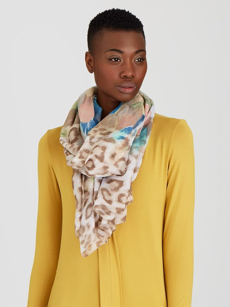 Feather and Animal Print Scarf Mid Brown