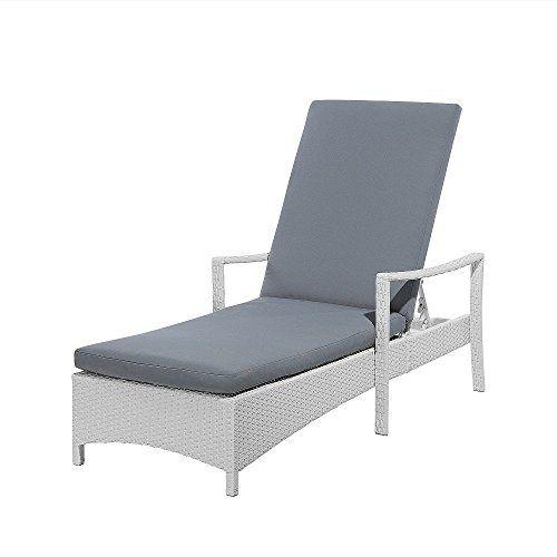 White Rattan Sun Lounger with Grey Cushion VASTO---207.9---