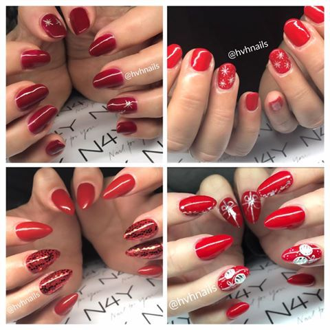 Nailart christmas in red gel polish, the sweetest christmas nails on Pinterest ;)