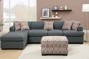 2 pc Jaimeson III collection blue grey blended linen fabric upholstery sectional sofa set with reversible chaise from AMBShopping at SHOP.COM