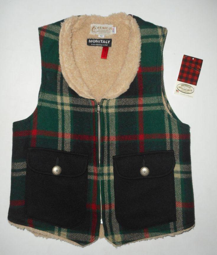 BEMIDJI Woolen Mills MONITALY Wool Vest GREEN PLAID Sherpa Lined USA Jacke NEW M #BemidjiMonitaly #Sleeveless #Casual