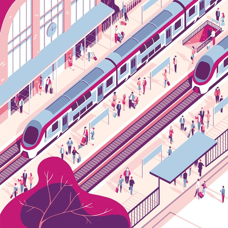 Tom Haugomat - For the French National Railway Company Tiphaine-illustration  #train #trainstation