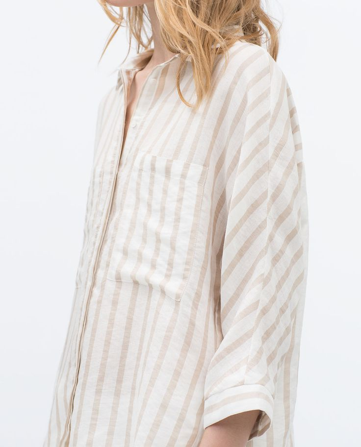 Image 5 of STRIPED SHIRT WITH KIMONO SLEEVES from Zara