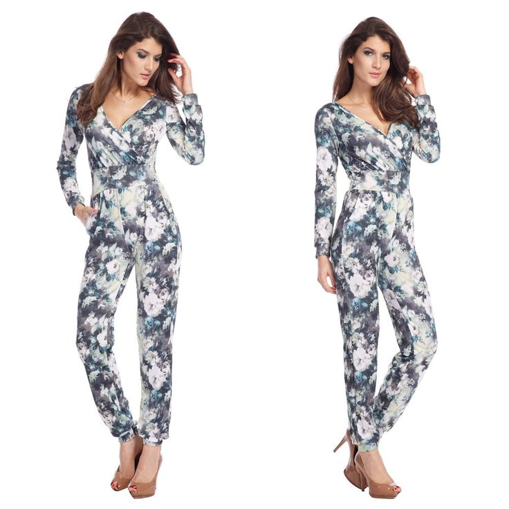 SEXY WOMEN CASUAL LONG SLEEVE JUMPSUIT ROMPERS V NECK LONG PANTS | Sexy Bandage Bodycon Dresses ...