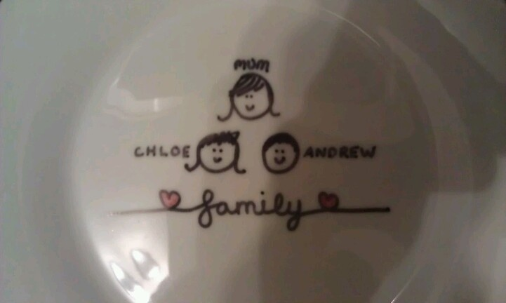 'Family' plate.  Decorated with Sharpies.