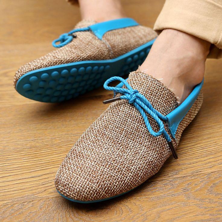 Tenis masculino hommes occasionnels printemps chaussures bateau dentelle - up lin tricoté plat sneakers orange / bleu / vert livraison gratuite chaussures [ # shoe227 ](China (Mainland))