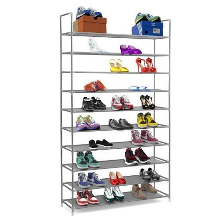 "Free Shipping. Buy Halter 10 Tier Stainless Steel Shoe Rack / Shoe Storage Stackable Shelves - Holds 50 Pairs Of Shoes - 39.125"" X 11.125"" X 69.5"" - Gray at Walmart.com"