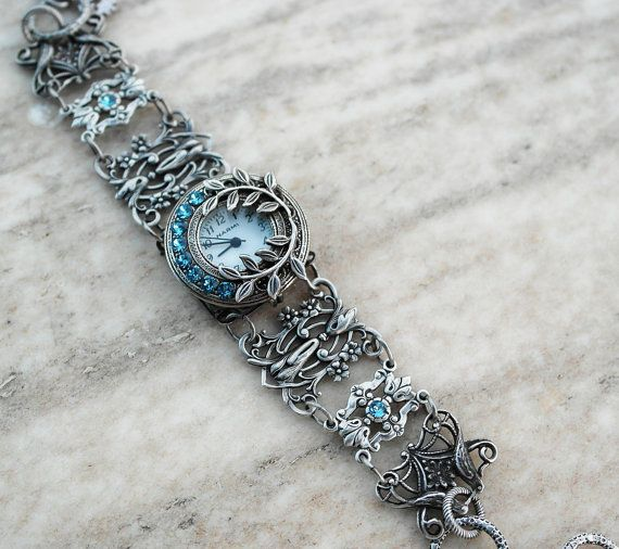 Silver Filigree watch bracelet Aquamarine Gothic women's Victorian Jewelry