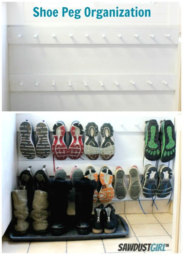 Brilliant idea to put shoes on pegs. No more marks from a metal shoe rack!!!!
