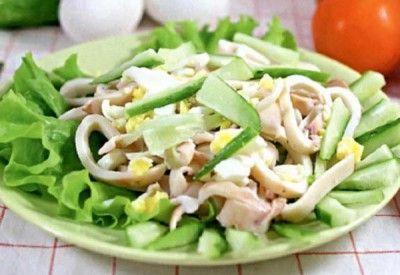 Салат из кальмаров с огурцом » Аппетитно: кулинарные рецепты