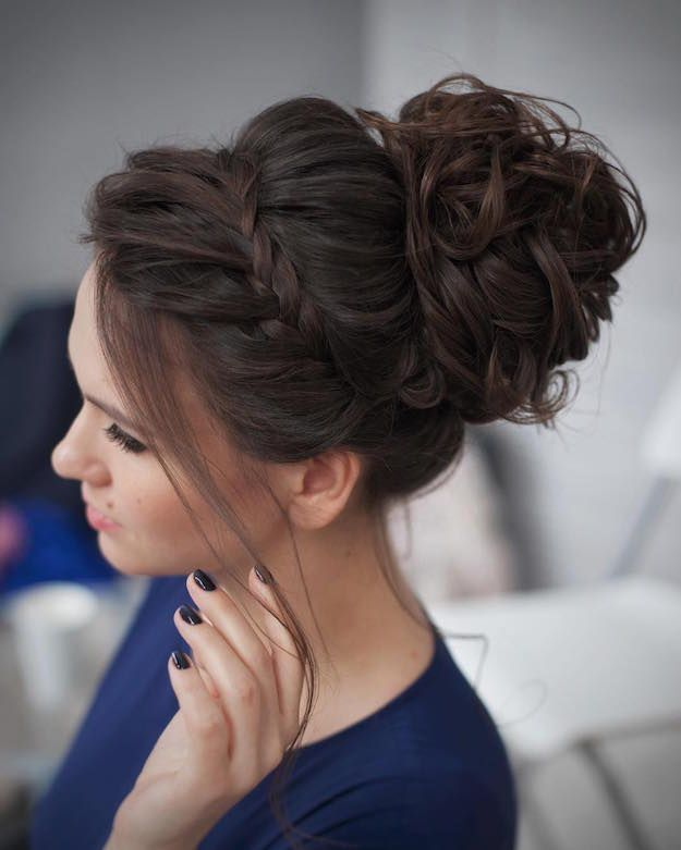 Messy Bun With Accent Braid | 12 Curly Homecoming Hairstyles You Can Show Off
