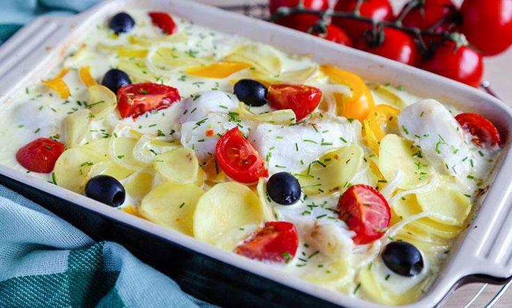 """Hvit """"bacalao"""" til middag på en brøkdel av tiden: Bytt ut klippfisk med lettsaltet torsk, og du har hvit bacalao klar i en fei!"""